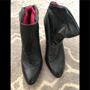 Black leather BCBG booties